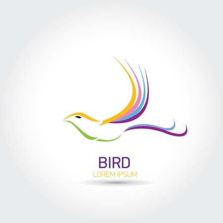 Color Bird abstract flying icon design template. freedom and creative mind sign Illustration