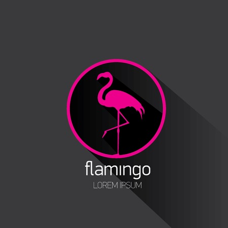 vector silhouette of flamingo with long shadow with long shadow on stylish black background.