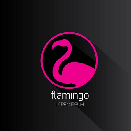 vector silhouette of flamingo with long shadow with long shadow on stylish black background. Vector