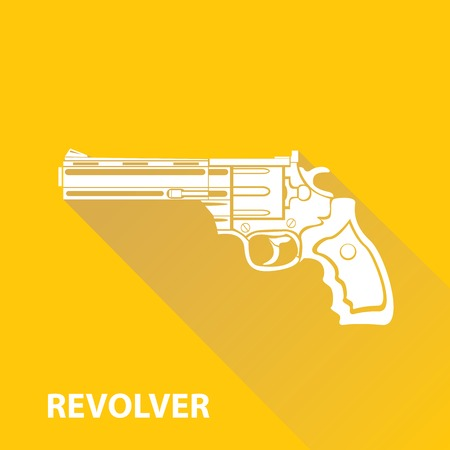 vector vintage pistol gun icon on orange background Vector