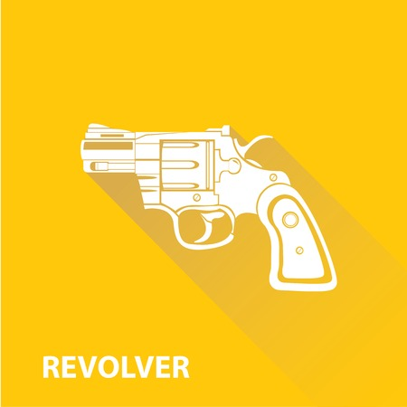 vintage riffle: vector vintage pistol gun icon on orange background