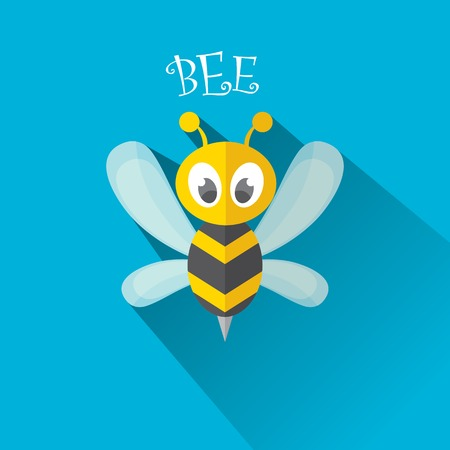 artoon: artoon cute bright baby bee on stylish blue summer sky background Illustration