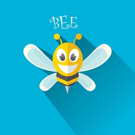 artoon cute bright baby bee on stylish blue summer sky background Vector