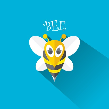 artoon cute bright baby bee on stylish blue summer sky background Vector
