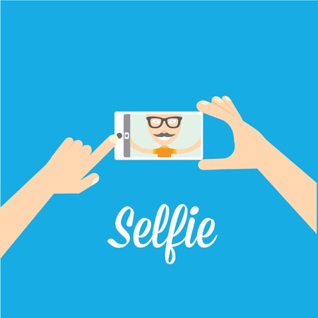 Taking Selfie Photo on Phone   vector illustration Çizim