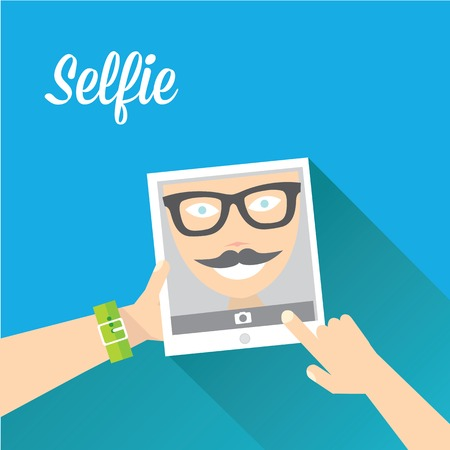 Taking Selfie Photo on Phone   vector illustration Vector