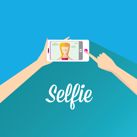Taking Selfie Photo on Phone   vector illustration Vector