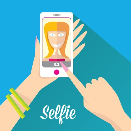 woman on phone: Taking Selfie Photo on Phone   vector illustration Illustration