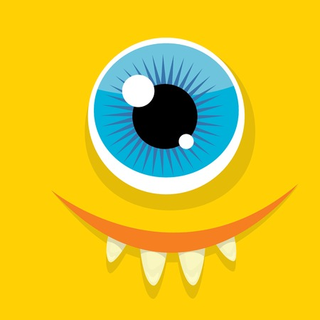 monster face: Vector Cartoon orange monster face