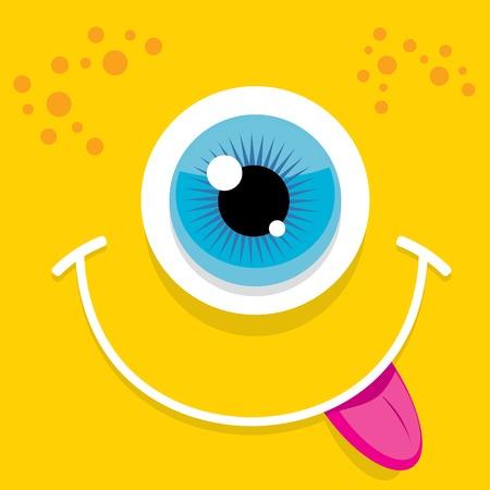 smiling face: Vector Cartoon orange monster face