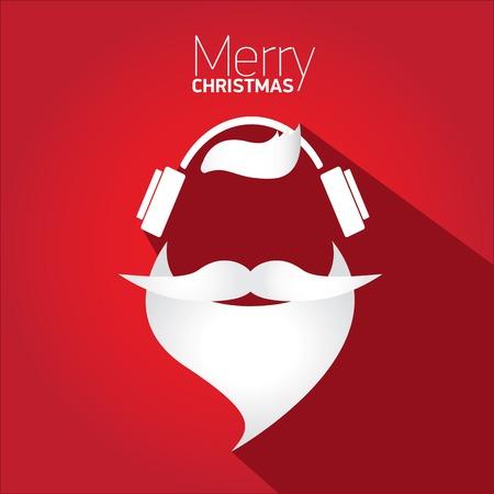 christmas santa: Merry Christmas hipster poster for greeting card  Illustration