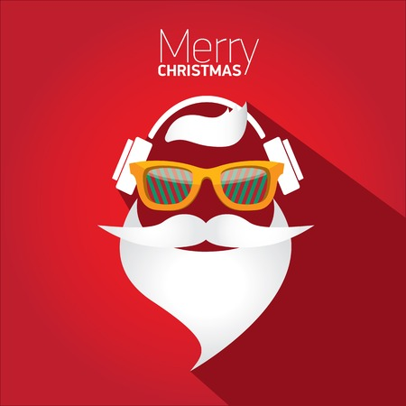 Merry Christmas hipster poster for greeting card  Vector