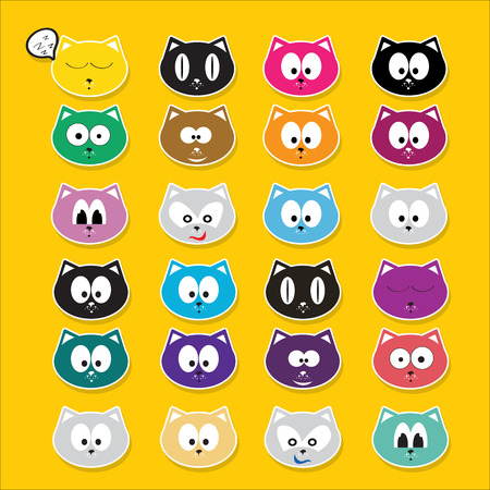 tot: vector cartoon cute cats set