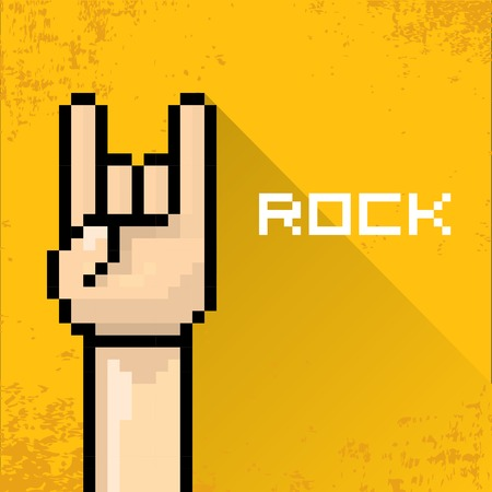pixel art hand sign rock n roll music   Vector