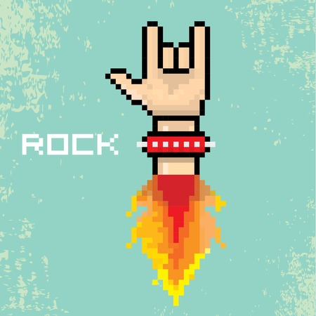vector flat pixel rock n roll icon with fire Vector