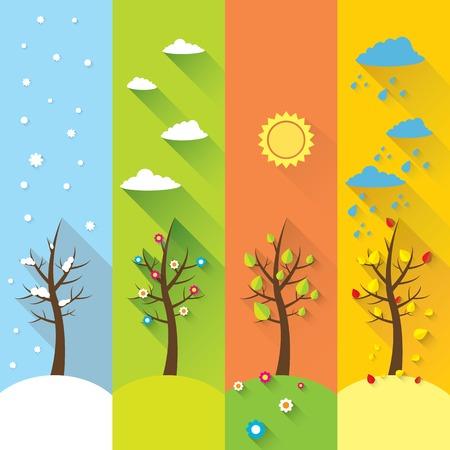 vector banner - four seasons Illustration