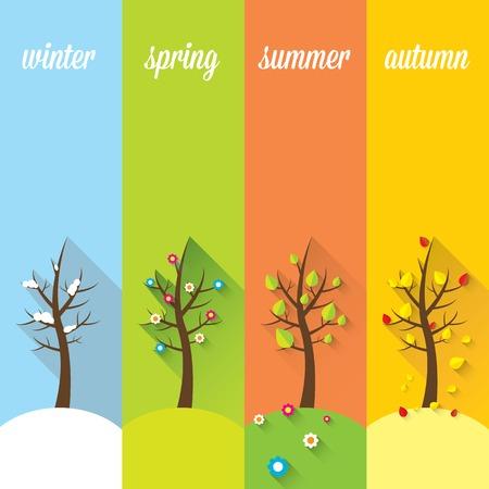 banner of four seasons Vector