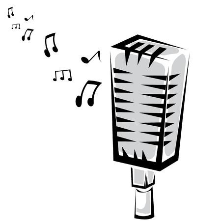 retro microphone silhouette  Vector