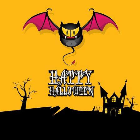 vector happy halloween card with bat Vector