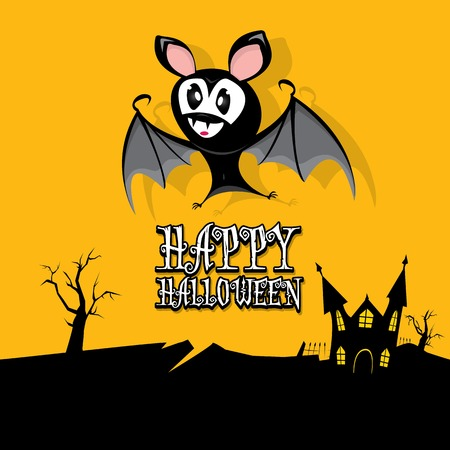vector happy halloween card with bat Vector