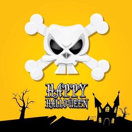 vector happy halloween card with skull Vector