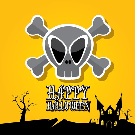 vector happy halloween card with skull Vector