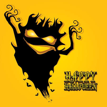 vector happy halloween card design template. halloween poster for party or greeting card Vector