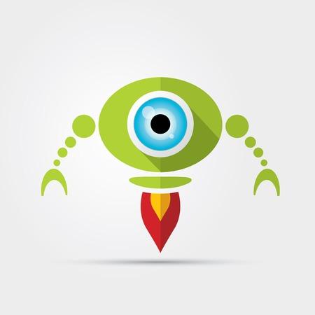 Cartoon Character Cute green Robot Vector