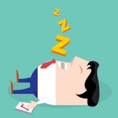 sleeping man: Sleeping man in office . vector cartoon illustration Illustration