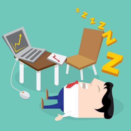 Sleeping man in office . vector cartoon illustration Vector