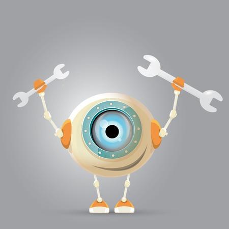 cute robot: Cartoon Character Cute Robot