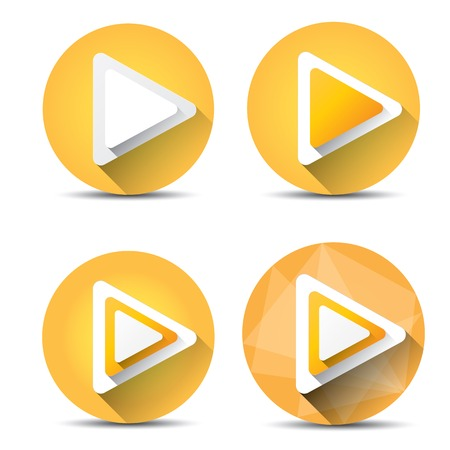 off the record: Orange Play button set. vector illustration