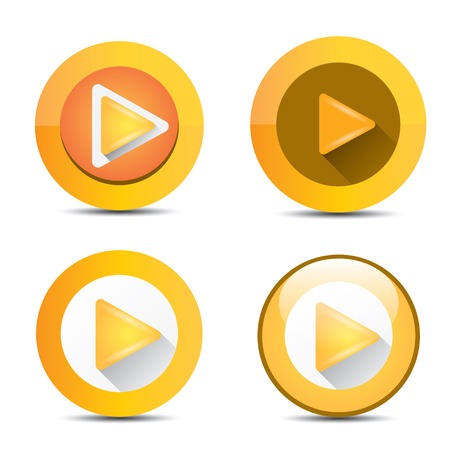 avi: Orange Play button set. vector illustration