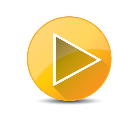 Oranje knop Afspelen. vector illustratie