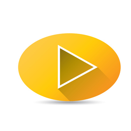 off the record: Orange Play button . vector illustration