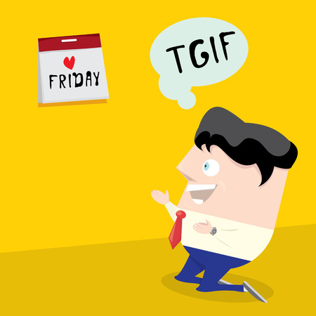 cartoon businessman: thanks god its friday concept. i love friday