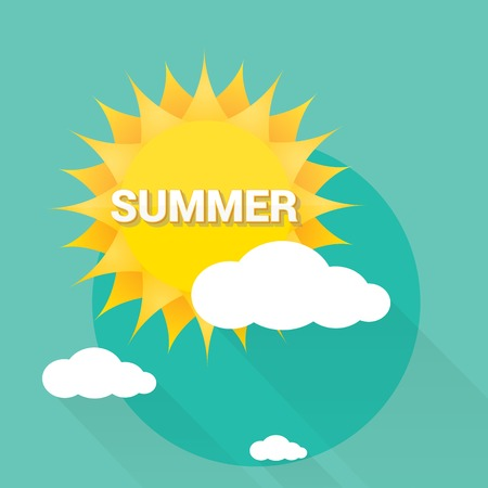 sunshine: flat summer sign or label. abstract background Illustration