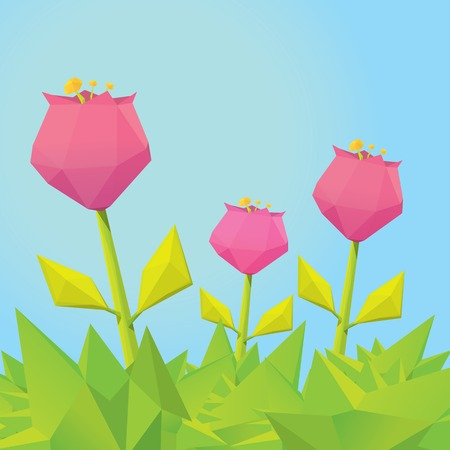 heyday: Conceptual polygonal pink spring flower. Illustration