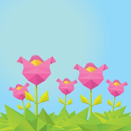 heyday: Conceptual polygonal pink spring flower. Illustration