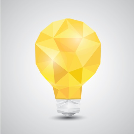 light bulb low: Light bulb vector icon low poly style.