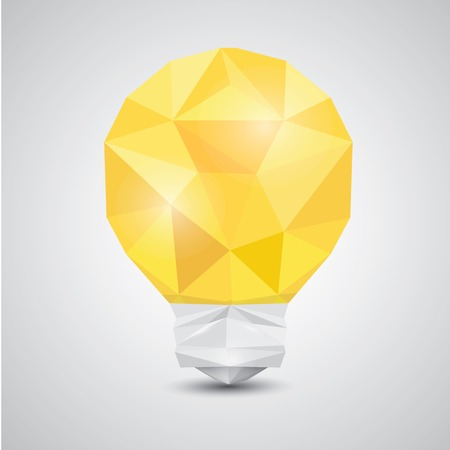 3d paper art: Light bulb vector icon low poly style.