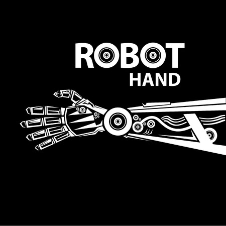 hand movements: vector robotic arm symbol. robot hand