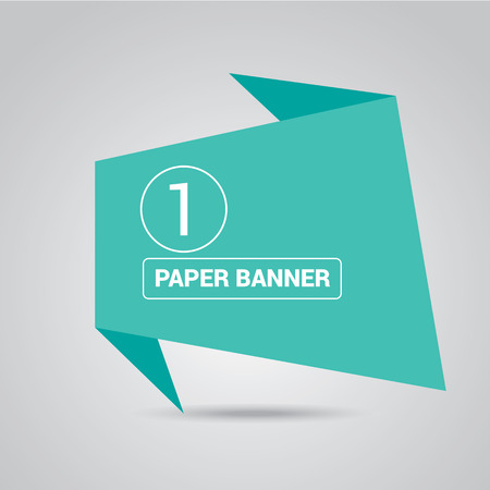 Speech: turquoise origami paper speech bubble or banner Illustration