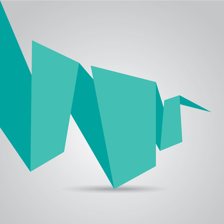 turquoise origami paper speech bubble or banner Vector