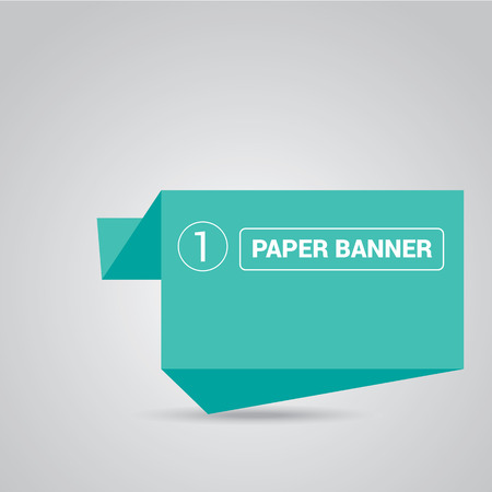 turquoise origami paper speech bubble or banner Illustration
