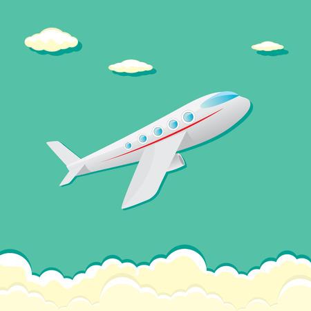 avion caricatura: icono de avi�n vector. avi�n de la historieta en el cielo azul Vectores