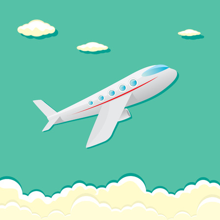jetliner: vector airplane icon. cartoon plane in blue sky Illustration