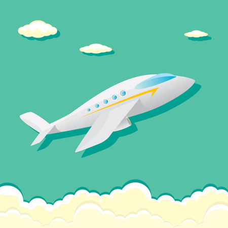 vector airplane icon. cartoon plane in blue sky Illustration