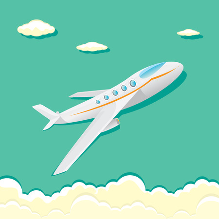 undercarriage: vector airplane icon. cartoon plane in blue sky Illustration