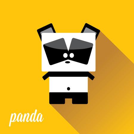 jungle animals: panda bear vector illustration. flat style